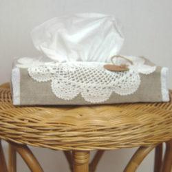 boite mouchoir lin et crochet